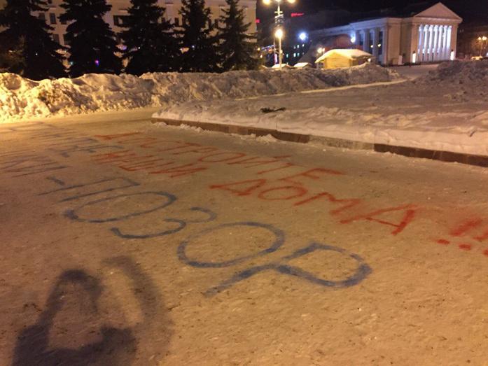 Обманутые дольщики расписали лозунгами снег у здания регионального правительства