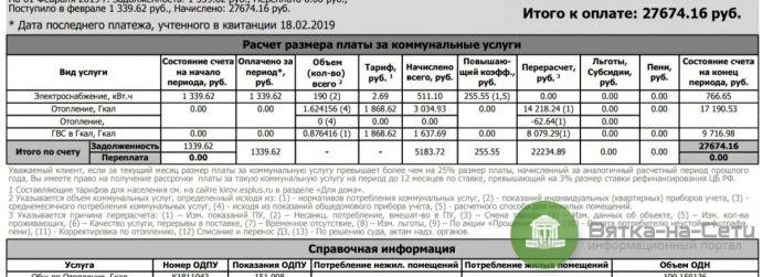 Кировчанину насчитали за «коммуналку» более 27 тысяч рублей
