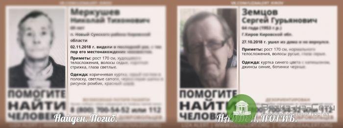 Два пропавших в Кировской области мужчины найдены мертвыми