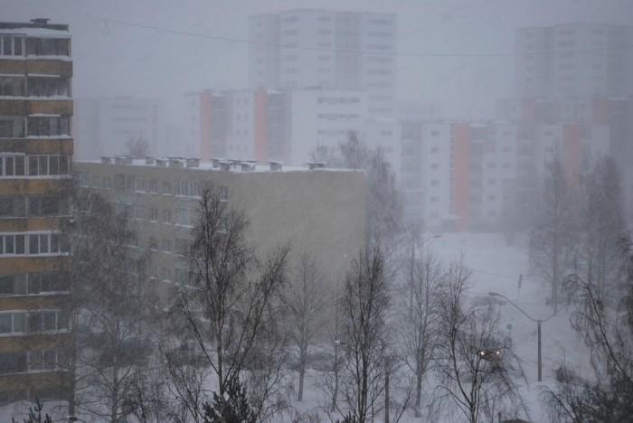 Мокрый снег и сильный ветер