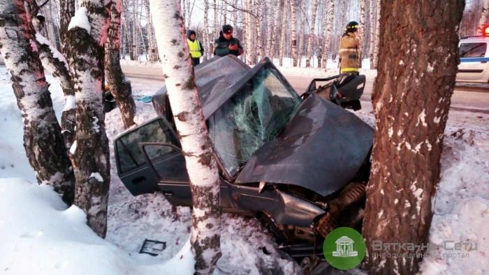 В Вятскополянском районе авто врезалось в дерево: пострадал водитель и трое детей