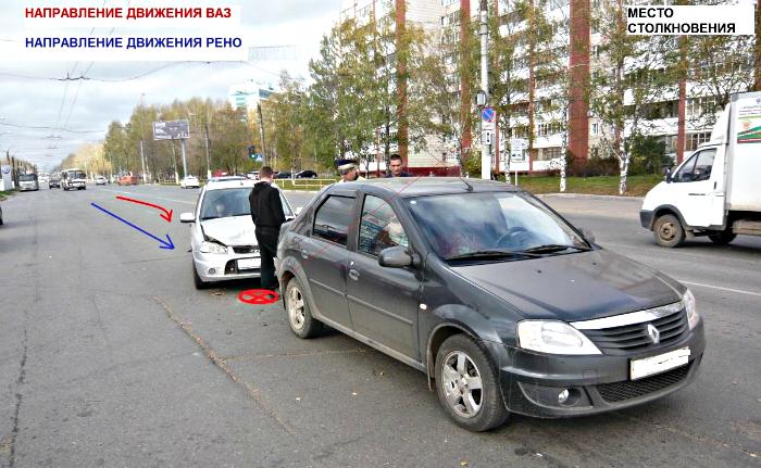 На Московской столкнулись Lada и Renault