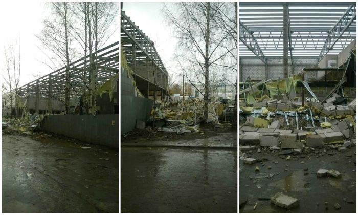 ВКирове рухнули стены устроящегося спорткомплекса наВоровского